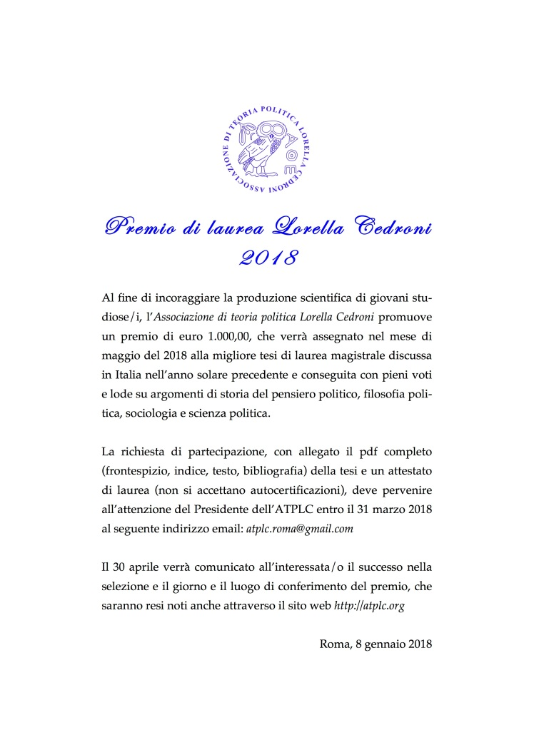 Premio di laurea Lorella Cedroni 2018