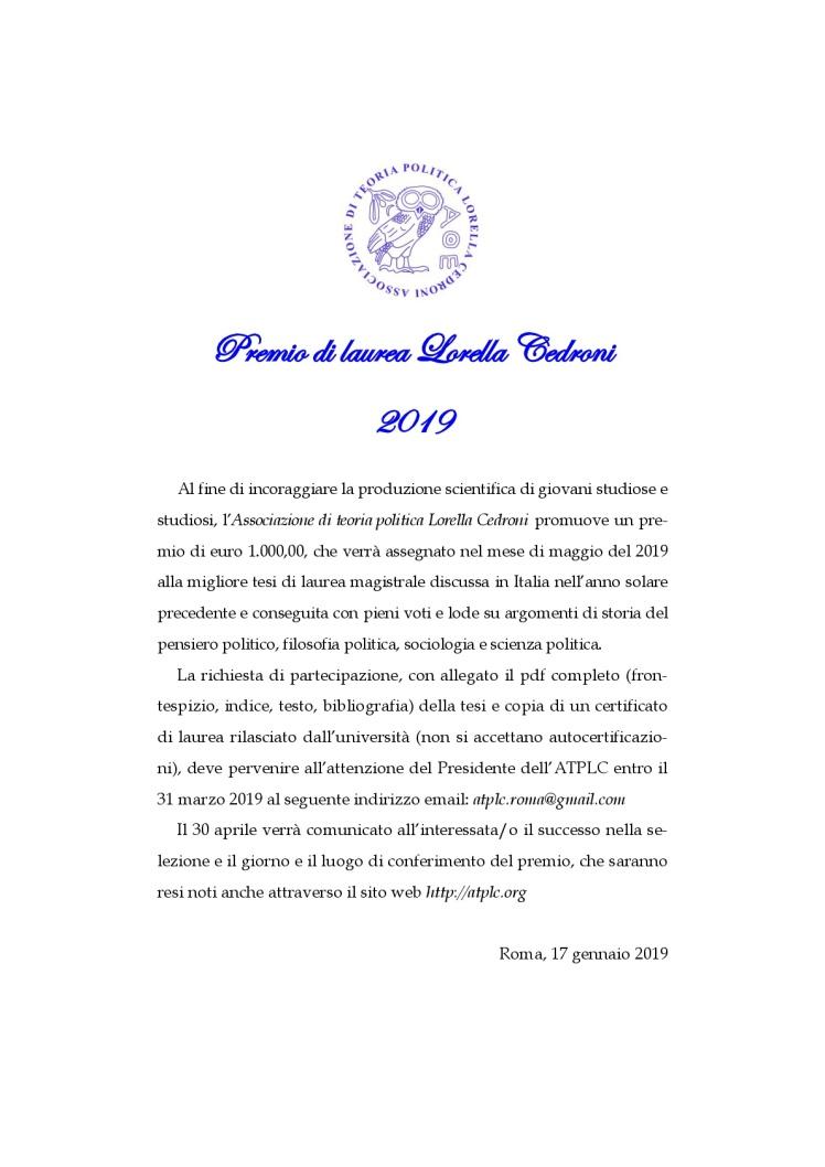 bando premio di laurea lorella cedroni 2019